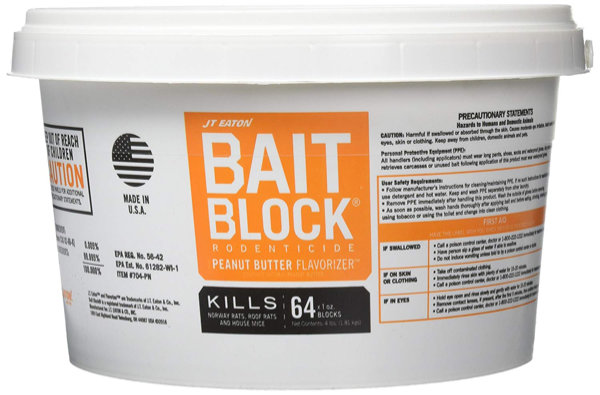 Bucket of JT Eaton Bait Block rodenticide