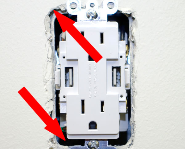 Electrical Outlet with Cover Removed