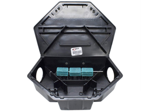 Protecta LP rat bait station opened like a clam shell to reveal the bait inside