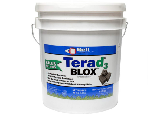 Big bucket of Terad3 rodenticide