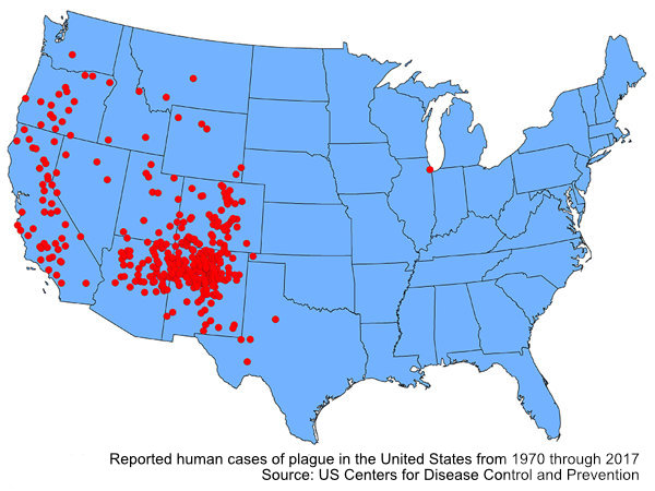 Map showing reported human cases of plague in the United States from 1970 through 2017. Most cases are concentrated in the western half of the country.