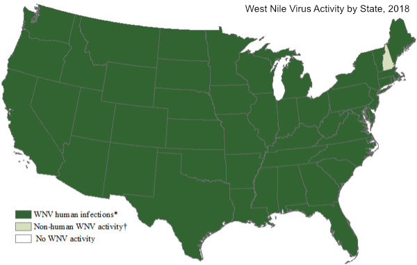 Map of the Unitd States showing repoted instances of West Nile Virus in every state
